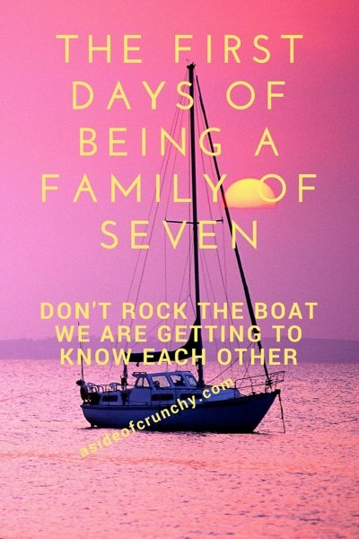 boat in the ocean- large families need time to adjust