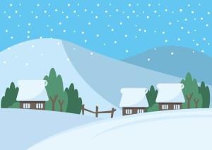 雪の降る村の画像
