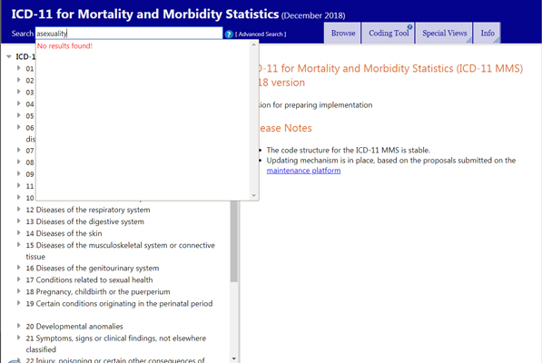 Search results for 'asexuality' in the online version of the ICD-11: No results found!