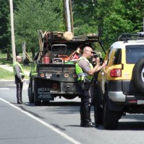 Dover police officers address seat belt violations during a seat belt checkpoint