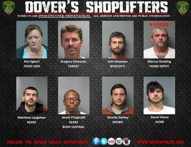 Dover Police Shoplifting Arrests October 23, 2014-October 30, 2014