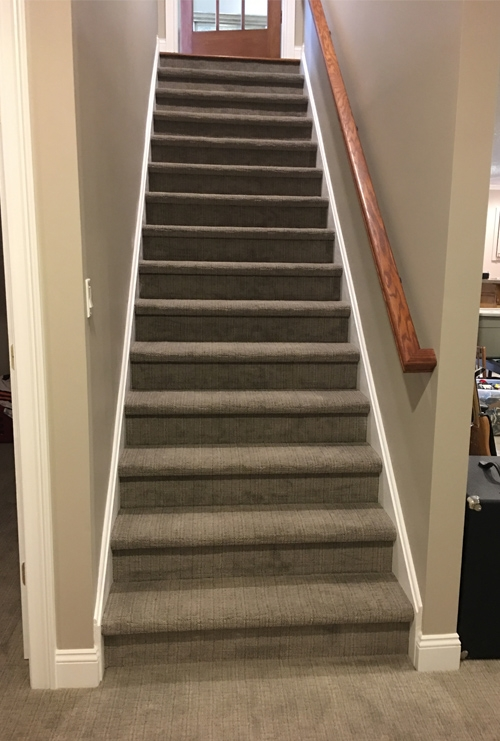 Sophisticated Basement Dover Home Remodelers | Stairs Leading To Basement | Beautiful | Painted | Unfinished Basement | Metal | Basement Peaked Roof