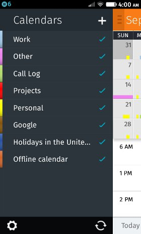Calendar app, showing CalDAV and Google calendars