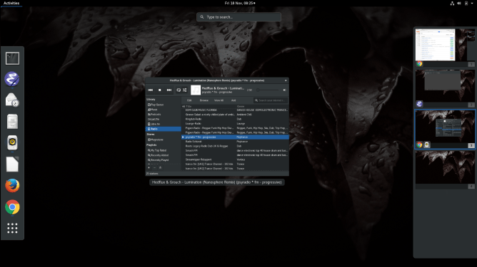 Screenshot of GNOME 3 desktop.