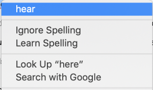 Screenshot of spellcheck context menu