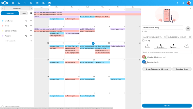 Calendar interface in Nextcloud