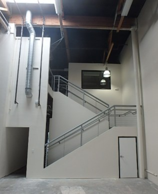 cable rail, stairwell, tenant improvement, dowling construction