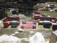 Dining out in the river, Ourika Valley, Morocco