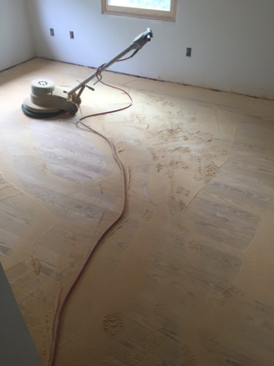 Buffing upstairs bedroom floor