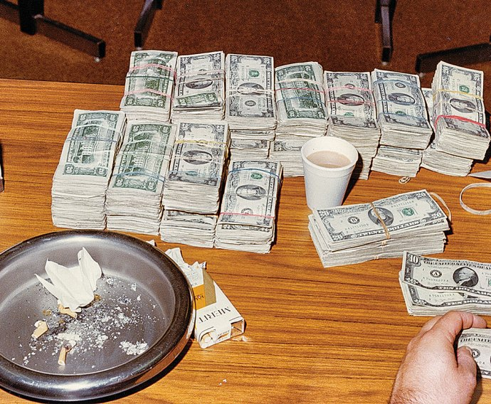 Maine's Federal-State Anti-Drug Smuggling Task Force often seized large amounts of cash and drugs as a result of undercover work during the 1970s and 1980s, as in this shot from the personal archives of Sergeant Harry Bailey.