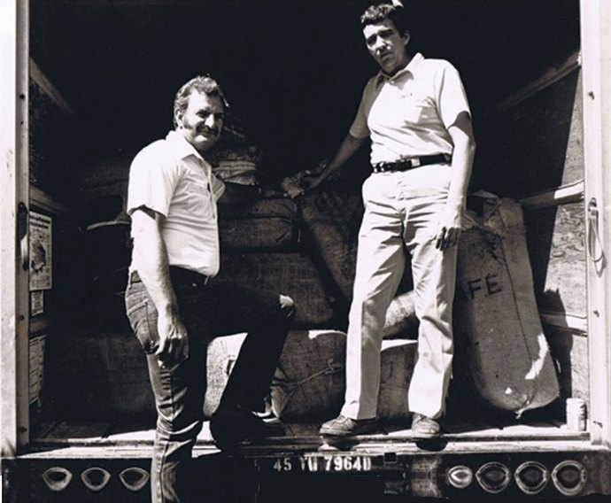State Police Sergeant Harry Bailey (left) grew a mustache and sideburns for undercover work with the Federal-State Anti-Drug Smuggling Task Force. Here, he poses as a drug smuggler with DEA agent Michael Cunniff.