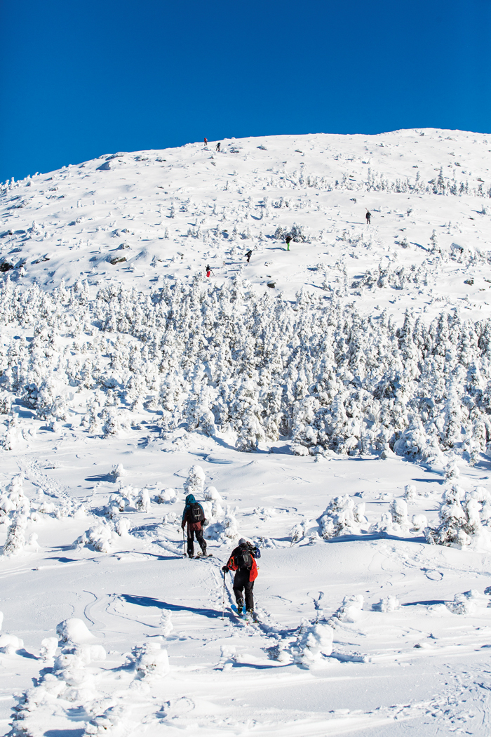 you'll have to hike a bit to backcountry ski in Maine