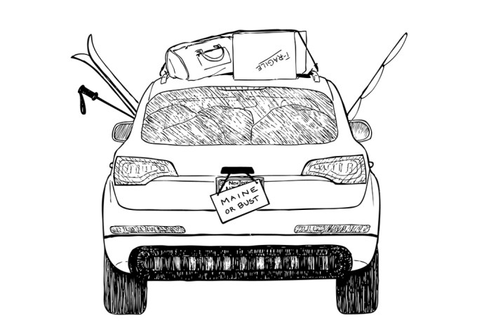 Illustration of a packed car moving to maine, one of the best places to live in the US