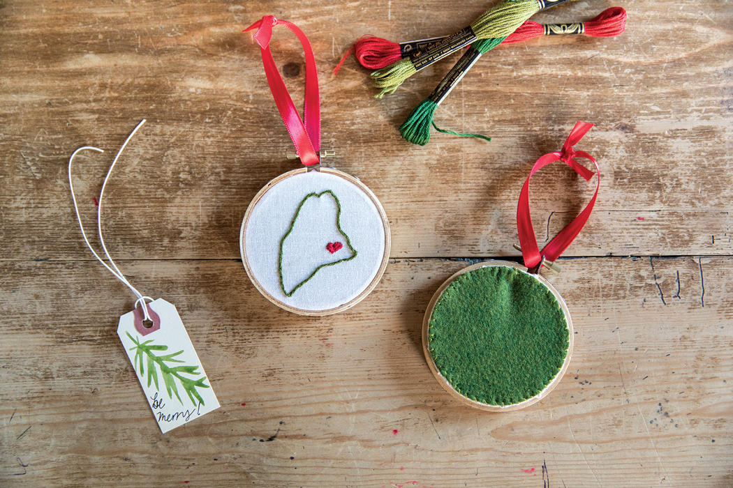 Embroidered Maine Ornament