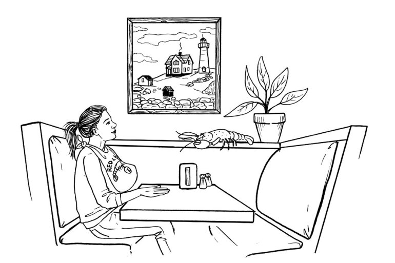 Illustration of person dining at Red Lobster
