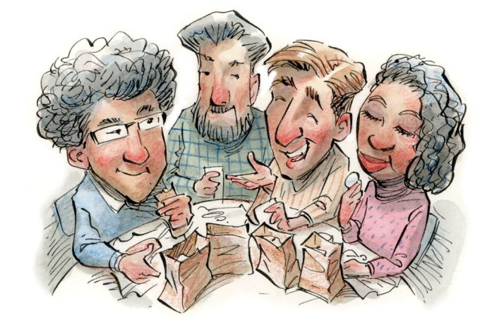 illustration of group lunch