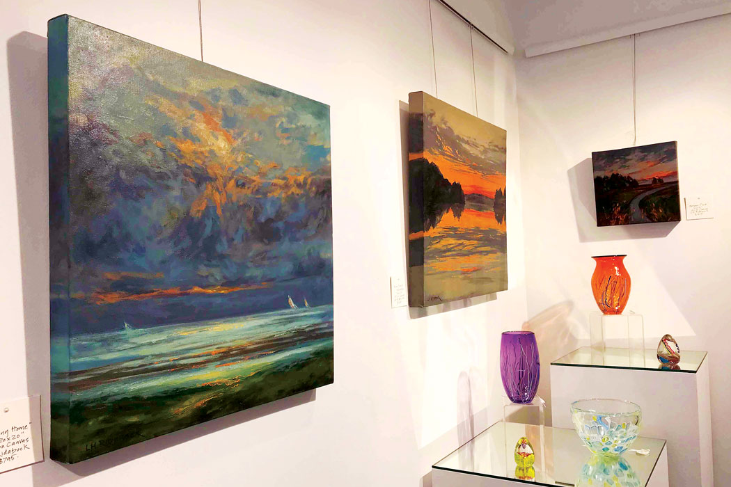 Oil landscapes and blown-glass vessels at Le Van Gallery.
