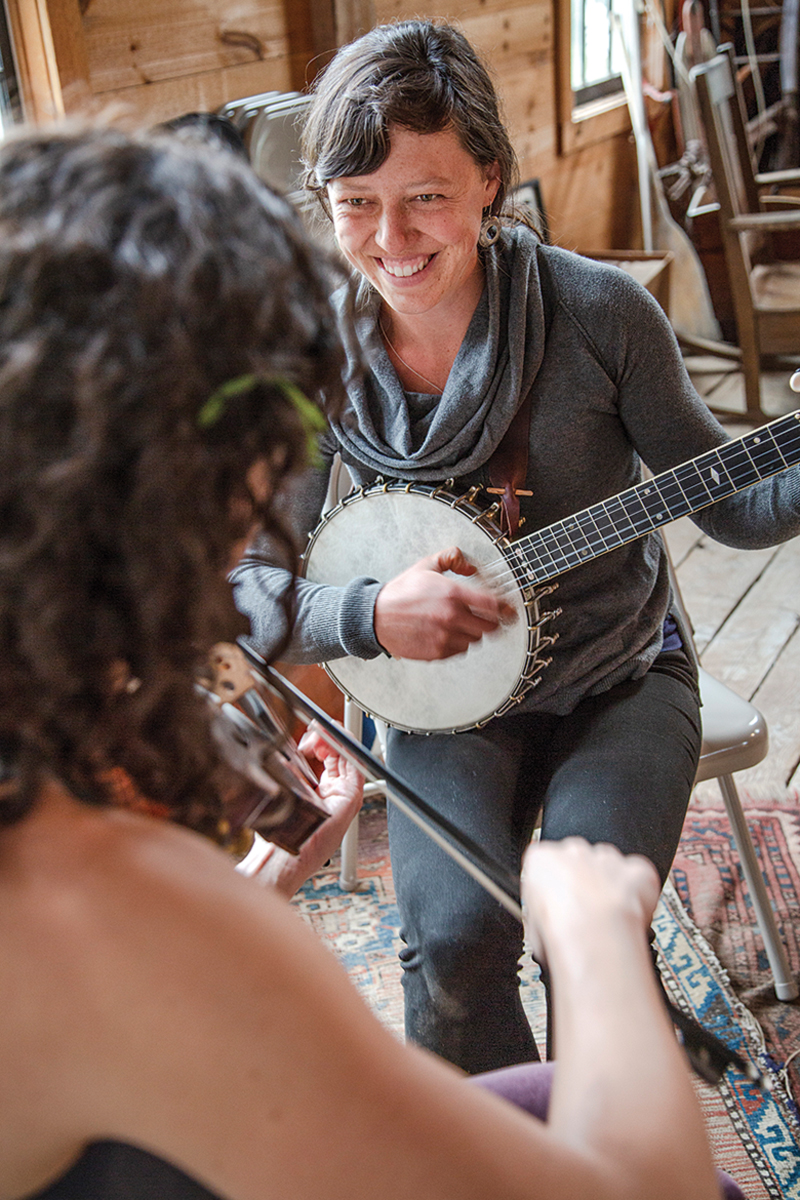 The Gawler Sisters are typical of the string bands that play Oyster River's bimonthly pizza nights.