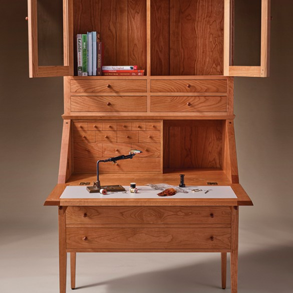 fly-tying desk by Thos. Moser and LL Bean