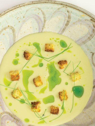 Vichyssoise, made with leek, shallot, and potato