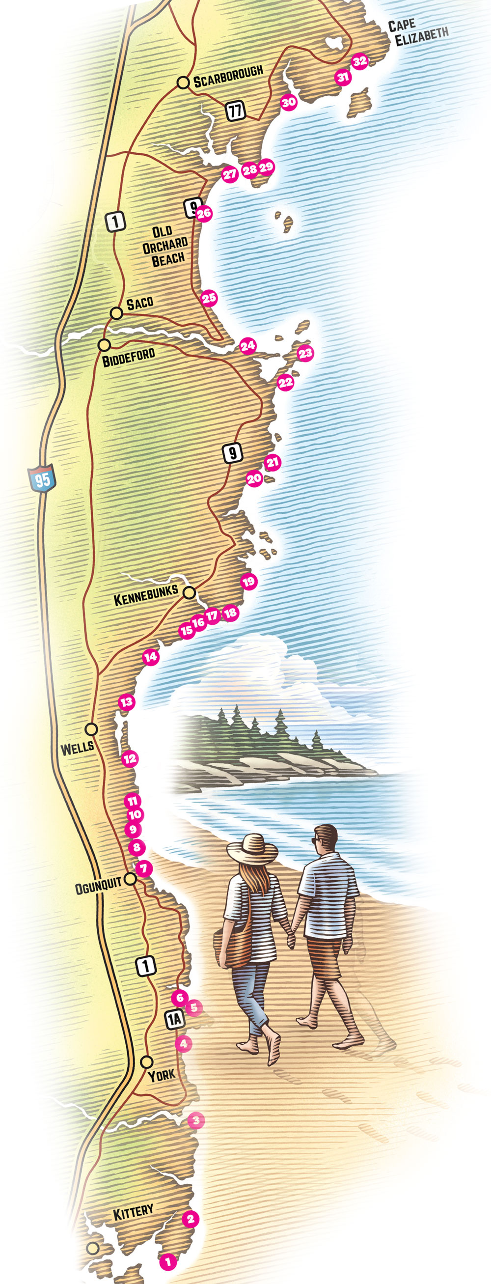 Southern Maine Beaches Map