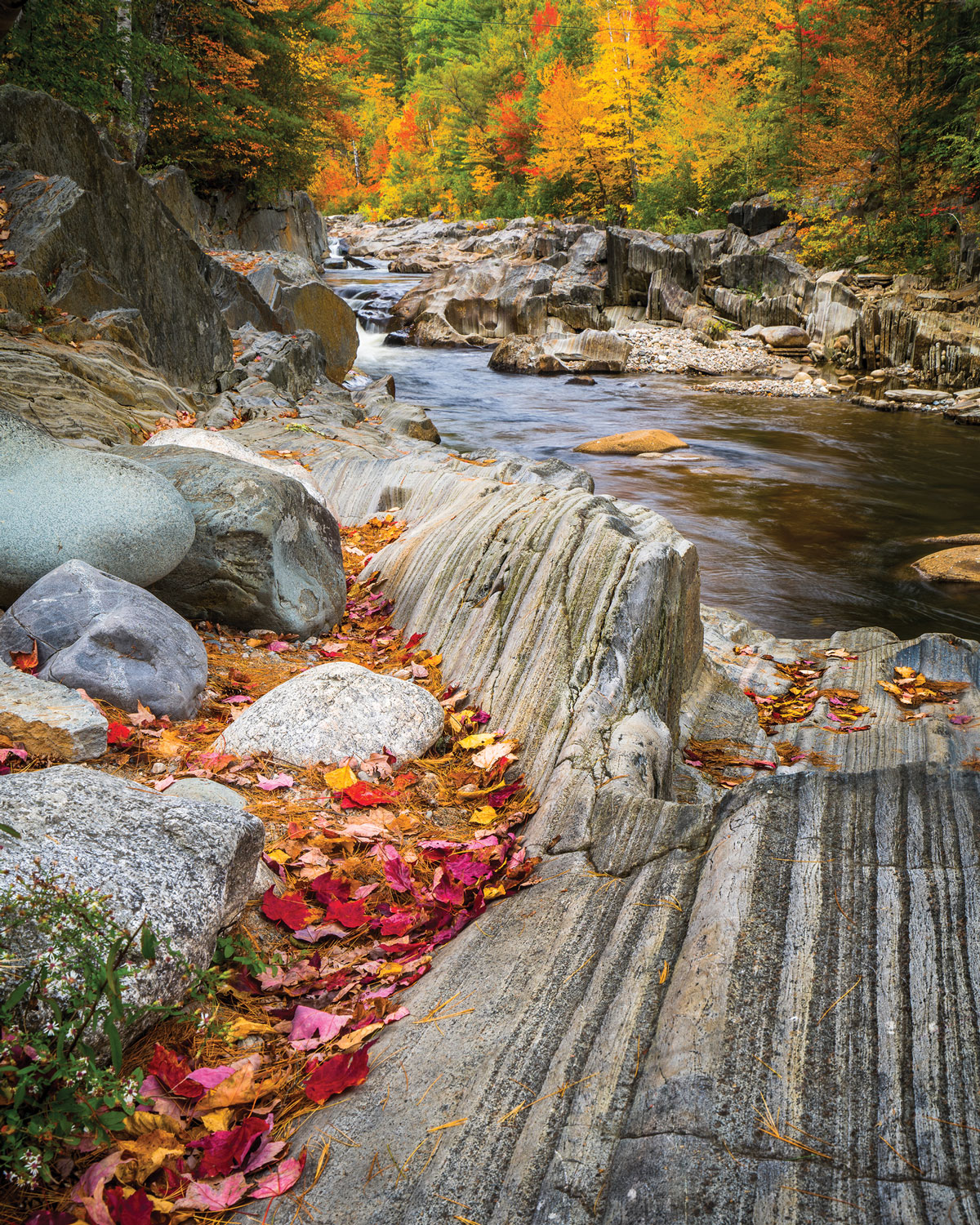 At Coos Canyon, in Byron, on Route 17, the Swift River powers through a rocky gorge.
