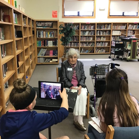 students in Old Orchard Beach interview older residents for the Making Memories program