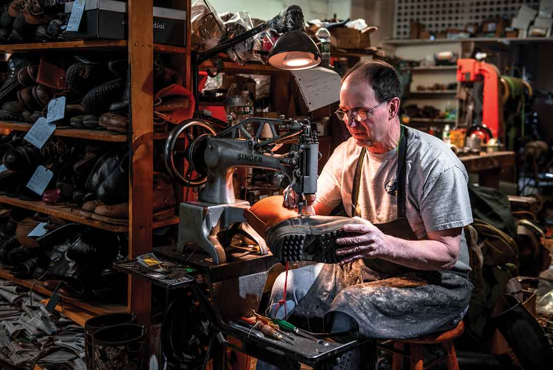 Tom LaCasse, Dick's younger brother, still uses their father's original Singer sewing machine in Tom Finn Shoe Repair, a cobbler's shop on downtown Augusta's Water Street that Tom bought in 1984.