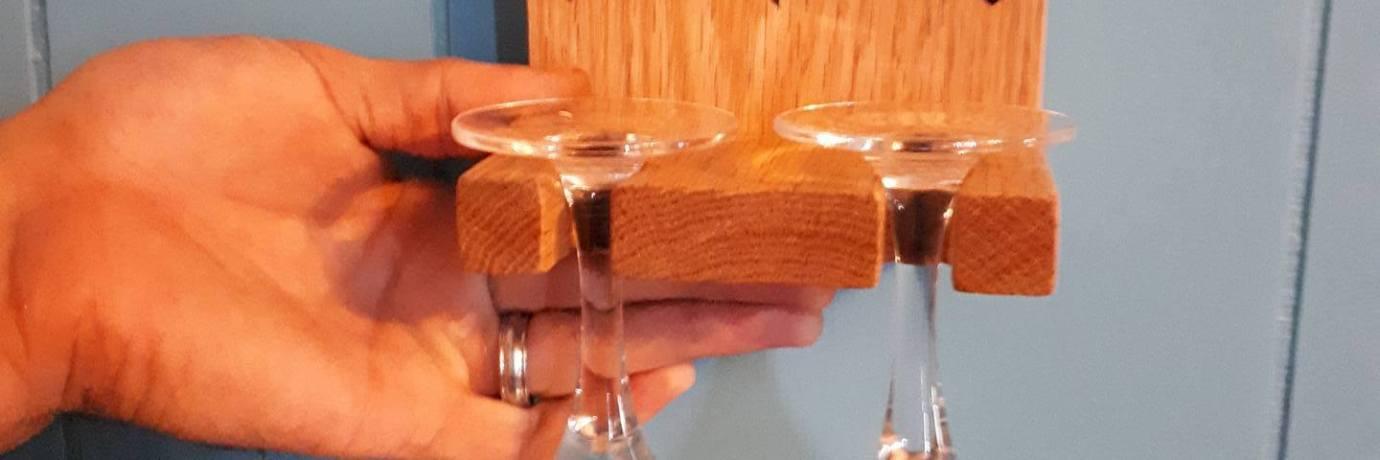 Laser Engraved Custom Oak Wine Glass Holder for Portion of Wedding Gift