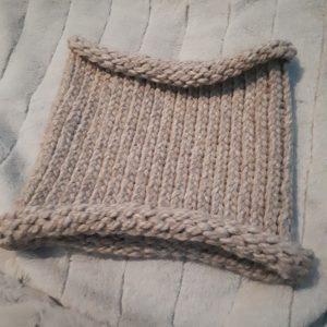 Loom knit cowl in beige, acrylic yarn
