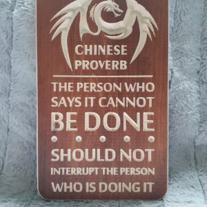 wooden carved chinese proverb sign