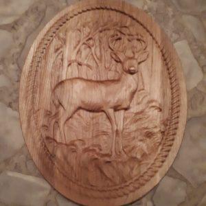 wood oval deer in woods 3d carving
