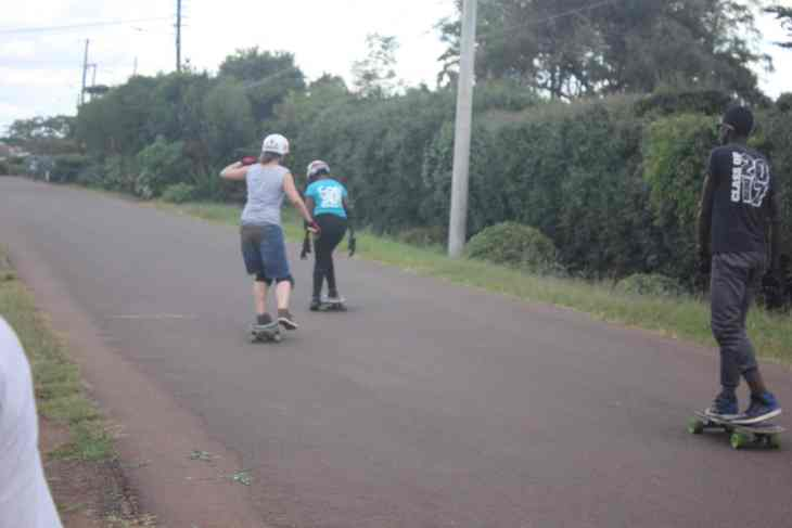 Christa (a Kenyan longboard) learning to skate