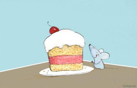 Мышка и тортик - Бесплатные картинки скачать без регистраций
