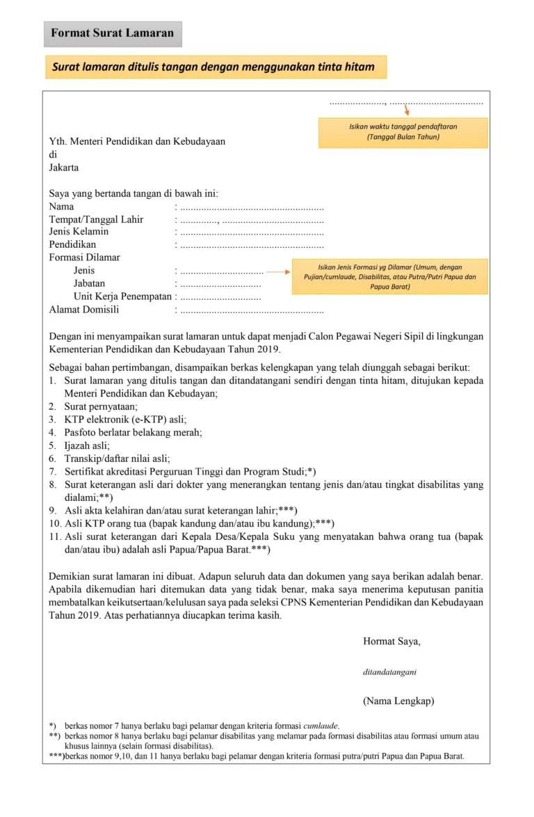 Contoh surat penyataan dan surat lamaran untuk syarat. Download Contoh Surat Lamaran CPNS 2021 Terbaru
