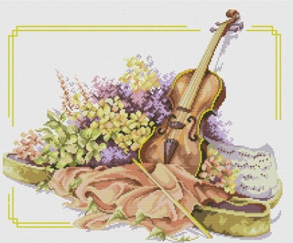 Cross-Stitch pattern FREE download as PDF file with violin