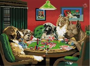 Cross-stitch pattern FREE download as PDF file with dogs playing poker