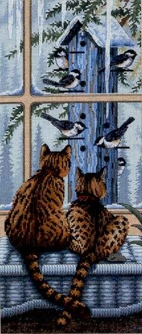 Cross-stitch pattern FREE download as PDF file with cats and birds
