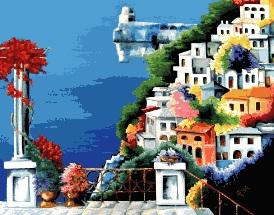 Cross-stitch pattern FREE download as PDF file with mediterranean village