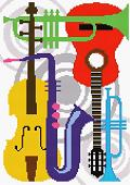 Cross-stitch pattern FREE download as PDF file with musicals instruments