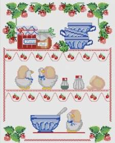 Cross-stitch pattern FREE download as PDF file with cookware