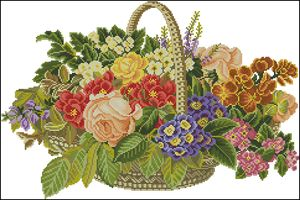 Cross-stitch pattern FREE download as PDF file with basket of flowers