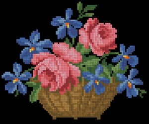 Cross stitch pattern FREE download in PDF file with flowers in a basket