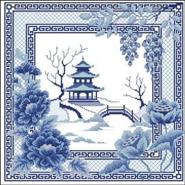 Cross stitch pattern FREE download in PDF file with oriental landscape
