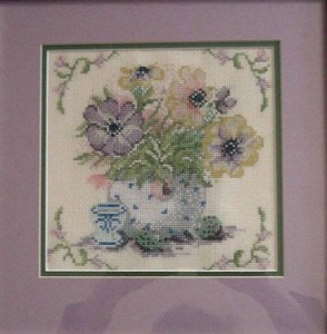 Cross stitch pattern FREE download as PDF file with flowers anemones