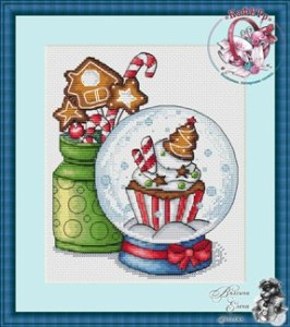 Cross stitch pattern FREE download in PDF file with Christmas decorations