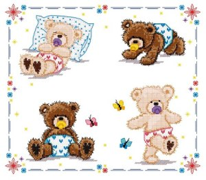 Cross stitch pattern FREE download in PDF file with Teddies baby