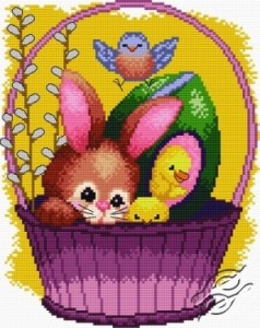 Cross stitch pattern FREE download in PDF file with easter rabbits