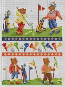 Cross stitch FREE download in PDF file with bears playing golf