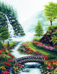 Cross stitch pattern FREE download in PDF file with bridge over river